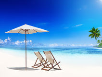 Deck Chair on Tropical Beach Royalty Free Stock Photography