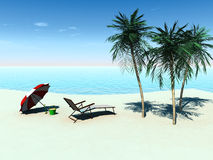 Deck chair on a tropical beach. Royalty Free Stock Images