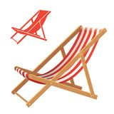 Deck chair. Two deck chair vector illustrations. Realistic and silhouette Royalty Free Stock Photos