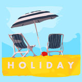 Deck chair with umbrella. Vector illustration Stock Photos