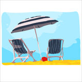 Deck chair with umbrella. Royalty Free Stock Image