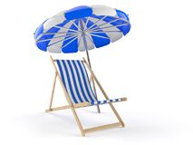 Deck chair with umbrella. Isolated on white background Royalty Free Stock Photography