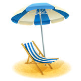 Deck Chair With Umbrella Illustration Royalty Free Stock Images