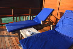 Deck chair in water villa,Maldives Stock Photo