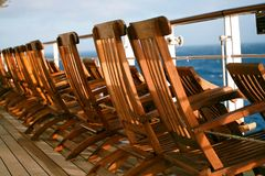 Deck chairs. Some deck chairs at queen mary 2 Stock Photography
