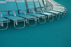 Deck chairs. Row of chairs on a deck of a cruise ship Royalty Free Stock Photo
