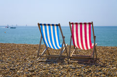 Deck Chairs. At Brighton Beach Royalty Free Stock Photography