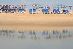 Deck chairs on beach Royalty Free Stock Photo