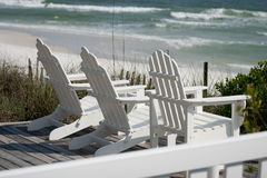 Deck Chairs at the Beach Royalty Free Stock Images