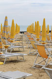 Deck chairs on the beach Royalty Free Stock Photo