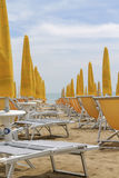 Deck chairs on the beach Royalty Free Stock Image
