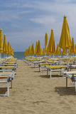 Deck chairs on the beach Royalty Free Stock Photography
