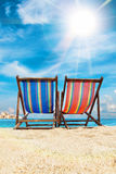 Deck chairs on the beach in Thailand. Deck chairs on the beach in Pangan, Thailand Royalty Free Stock Images