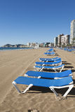 Deck chairs at Benidorm. Deck chairs in a row at Benidorm, Spain Stock Images