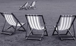 Deck chairs in black and white stock photo
