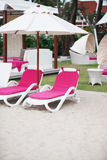 Deck chairs - copy space. Stock Photo