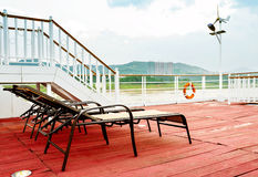 Deck chairs on a cruise ship Stock Photography