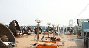 Deck chairs on the deck of a cruise Royalty Free Stock Photography