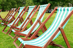 Deck Chairs in Green Park Stock Images