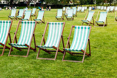 Deck Chairs in Green Park Royalty Free Stock Photography