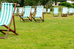 Deck Chairs in Green Park Royalty Free Stock Images