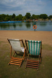 Deck Chairs in Hyde Park. London Stock Images