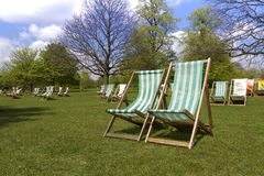 Deck Chairs In A Park Stock Photo