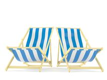 Deck chairs. Isolated on white background Stock Photo