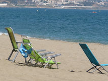 Deck chairs at La Cala de Mijas Stock Images
