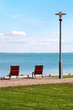 Deck chairs at Lake Balaton,Hungary Royalty Free Stock Images