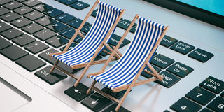 Deck chairs on a laptop. 3d illustration Royalty Free Stock Photo