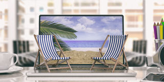 Deck chairs on a laptop - office background. 3d illustration Stock Photography