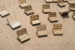 Deck chairs made of wooden cargo pallets Royalty Free Stock Photography