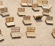 Deck chairs made of wooden cargo pallets Royalty Free Stock Images