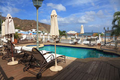 Deck chairs. Near swimming pool at nye tropical resort. San Juan del Sur. Nicaragua Stock Photo