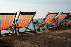 Deck Chairs On Pattaya Beach . Royalty Free Stock Images