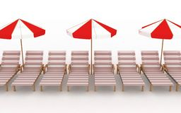 Deck-chairs with parasols Royalty Free Stock Photography
