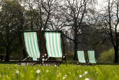 Deck chairs in a park Royalty Free Stock Images