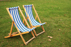 Deck chairs in Park Royalty Free Stock Image