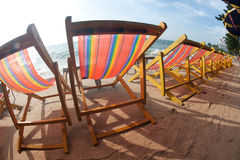 Deck chairs on Pattaya beach . Stock Photography