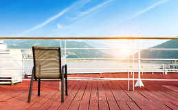 Deck chairs. Red deck chairs and no one Royalty Free Stock Photo
