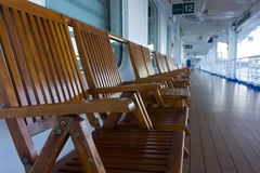 Deck chairs in a row Stock Image