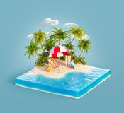 Deck chairs on a sand beach. Deck chairs under the beach umbrella on a sand beach of beautiful island on sliced earth block in summer day. Unusual 3d vector illustration