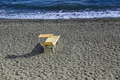 The deck chairs and the sea Royalty Free Stock Image