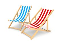 Deck chairs. Separated on white Royalty Free Stock Image