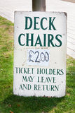 Deck chairs Sign Stock Image