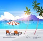 Deck Chairs On Tropical Beach Summer Seaside Landscape Exotic Paradise View. Flat Vector Illustration stock illustration