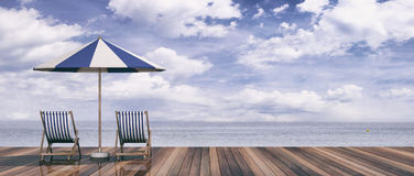 Deck chairs and umbrella on blue sky and sea background. 3d illustration Royalty Free Stock Image