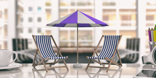 Deck chairs and umbrella on an office desk. 3d illustration Royalty Free Stock Photography