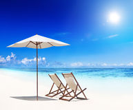 Deck Chairs White Sand Beach Concept Royalty Free Stock Photography